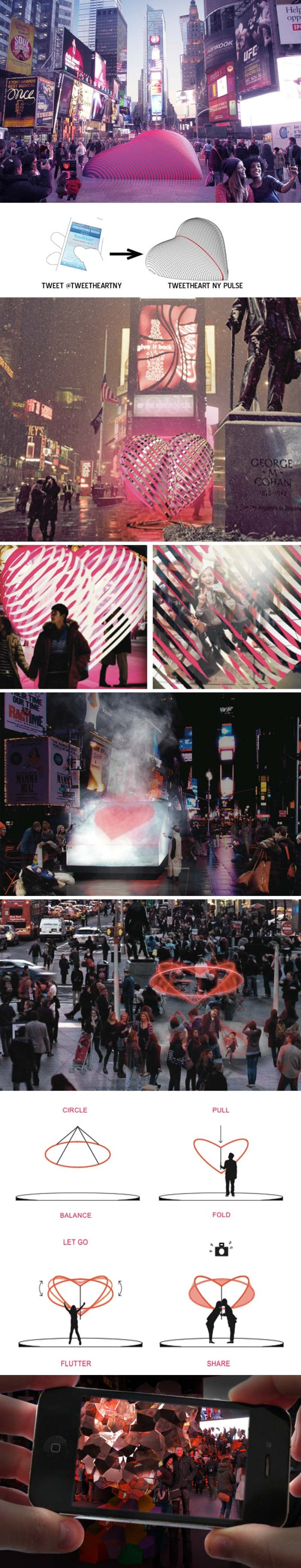 Times Square Valentine Heart Sculpture Competition 2014, Finalists, Young Projects,  Haiko Cornelissen Architecten; Pernilla Ohrstedt Studio; Schaum/Shieh Architects; SOFTlab; and The Living.Interactive sculpture shaped as heart, NYC
