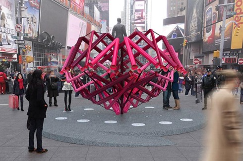 Times Square Valentine Heart Sculpture Competition 2014, Match-Maker, Young Projects, Interactive sculpture shaped as heart, NYC