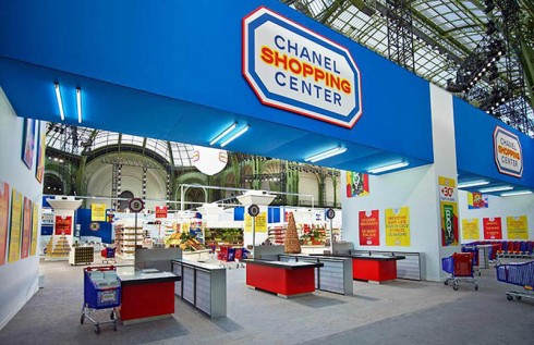 Chanel Shopping Center, Paris Fashion Week 2014, Karl Lagerfeld, Supermarket with all Chanel labeled food in grand Palais for displaying Chanel runway collection