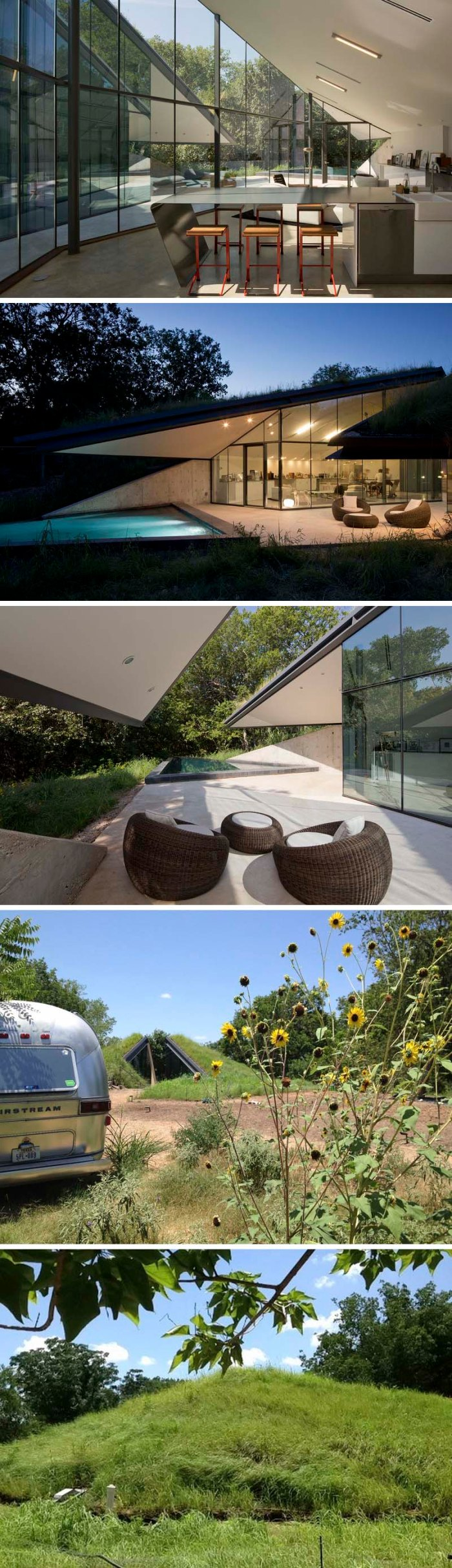 Edgeland House, Austin Texas, Designed by Bercy Chen Studio, based on Pit House style architecture, hidden in ground, cool architecture