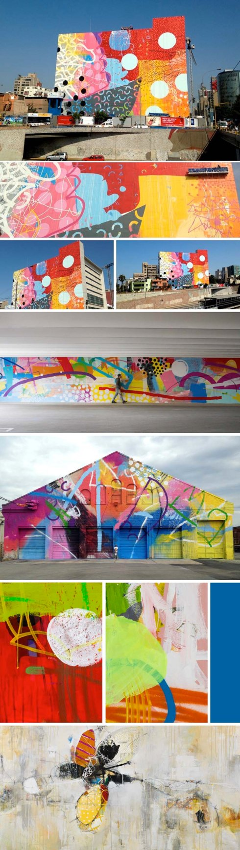 Hense, spectacularly colorful street art, facades, murals, paintings