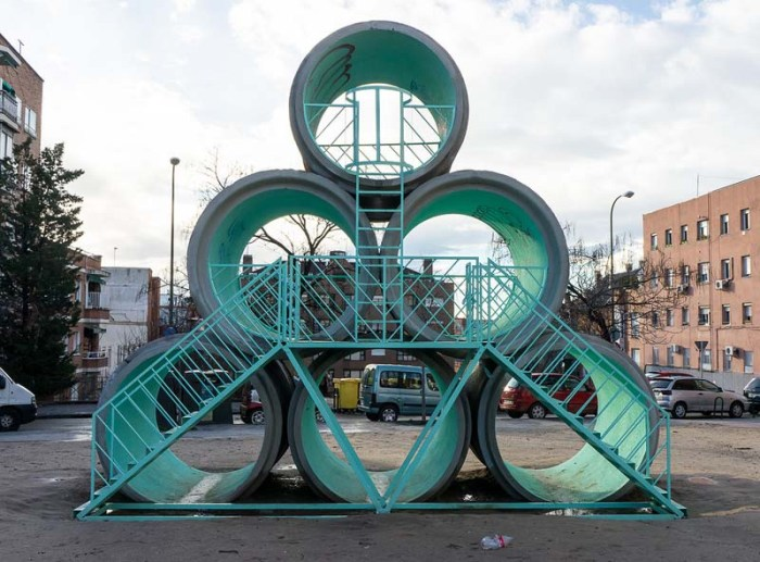 Hypertube, Urban art in Tetuan, Madrid, PKMN architects with Taller de Casqueria, architecture, public art