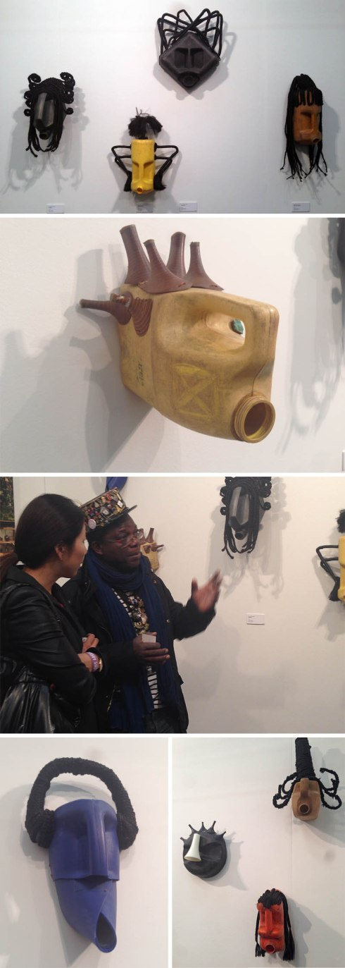 Contmeporary African Masks made with found objects, mostly gasoline canisters, Romuald Hazoume, Armory Show 2014