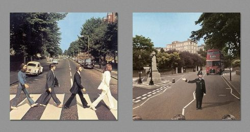 Re-imagined Back sides of iconic album covers by Harvezt, Dark side of album covers, Abbey Road