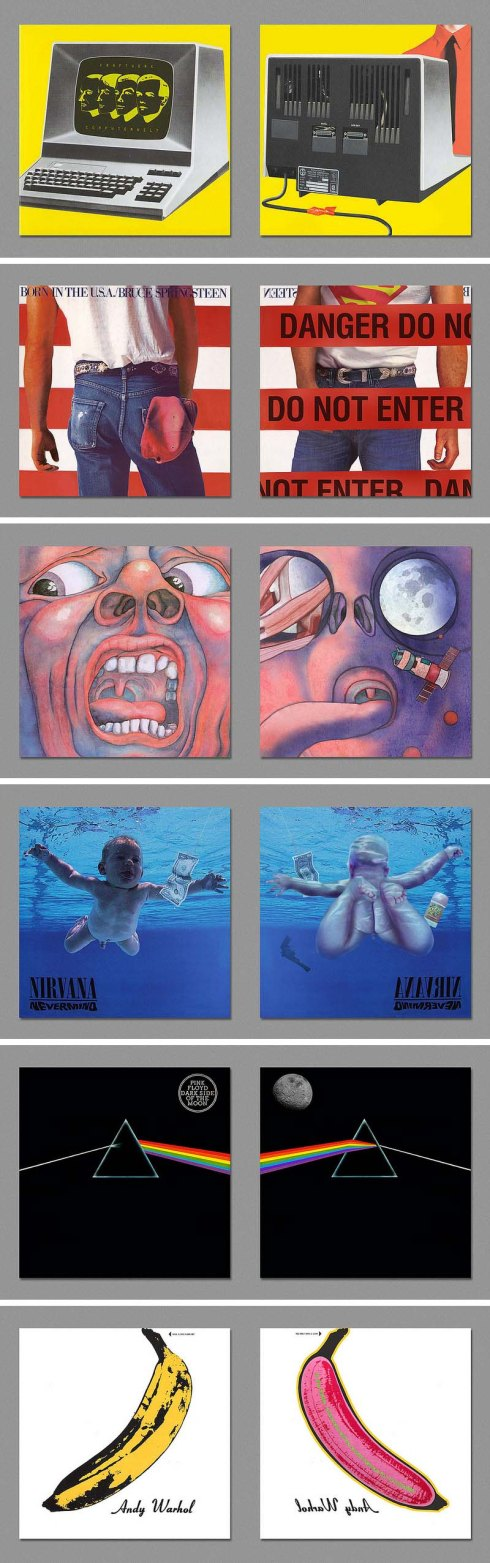 Re-imagined Back sides of iconic album covers by Harvezt, Dark side of album covers, Kraftwerk, Nirvana, Springsteen, Pink Floyd, velvet Underground