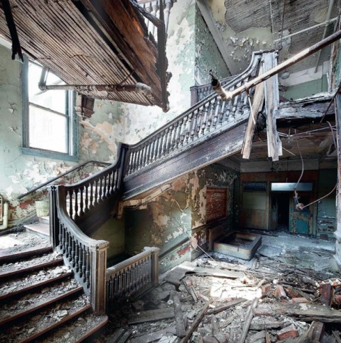 Photographs of abandoned places by Henk van Rensbergen, abandoned house and stairs