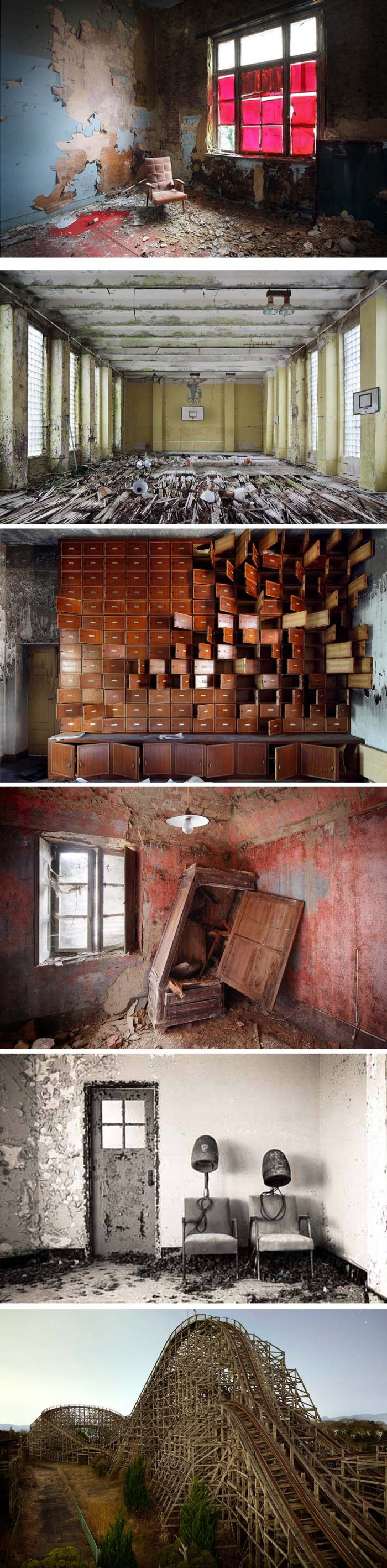 Photographs of abandoned places by Henk van Rensbergen, abandoned homes, offices, amusement parks, hair salon