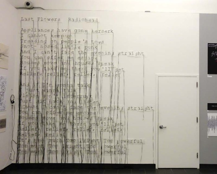 Motoko Ishii, typography, music as typography, visual music, School of Visual Arts, Radio Head lyrics