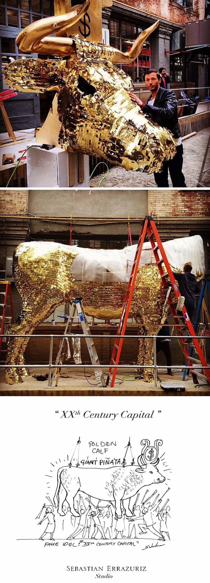 Cash Cow pinata by sebastian errazuriz, golden calf filled with 1000 dollars for NYCxDesign Festival, Industry City, 2014 Wanted Design