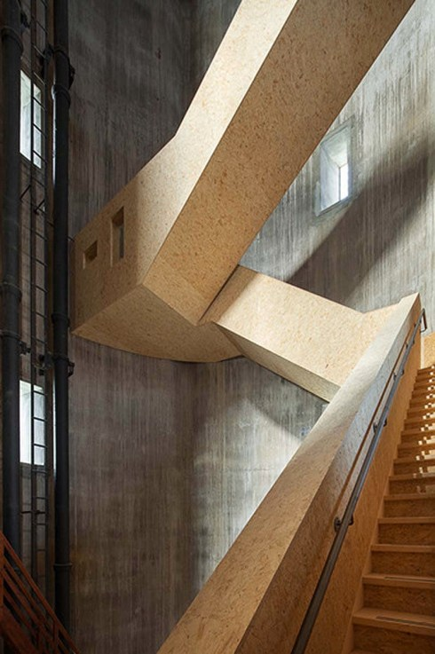 Watch/Watertower Sint Jansklooster in The Netherlands by Zecc Architecten, cool stairs, contemporary architecture, dramatic wood staircase