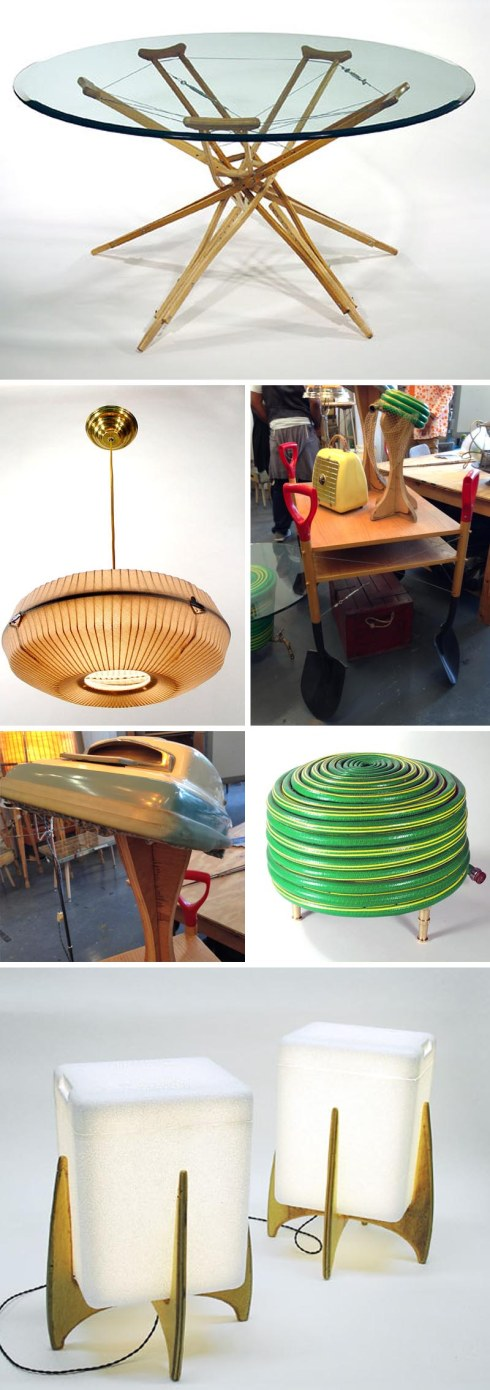 Repurposed objects into new objects, Rodney Allen Trice, TomTinc, Refitting the Planet, repurposing, recycling found objects