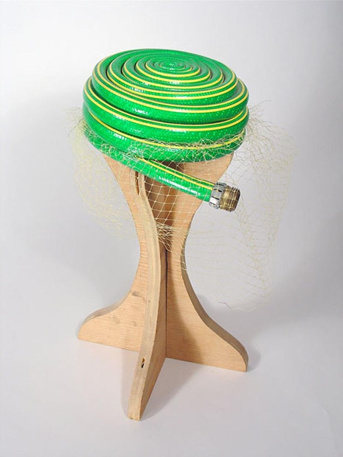 Repurposed garden hose as hat, Rodney Allen Trice, TomTinc, Refitting the Planet, repurposing, recycling found objects
