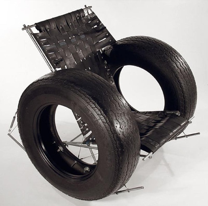 Repurposed tires into a rocking chair, Tire Rocker Chair, Rodney Allen Trice, TomTinc, Refitting the Planet, repurposing, recycling found objects