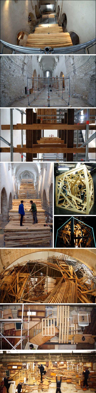 Sambre, French Street artist, Escalier de Secours, Fire Escape, Giant wood installation in Saint Pierre le Puellier Church, Orleans, France