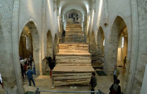 Sambre, French Street artist, Escalier de Secours, Fire Escape, Giant wood installation in Saint Pierre le Puellier Church, Orleans, France