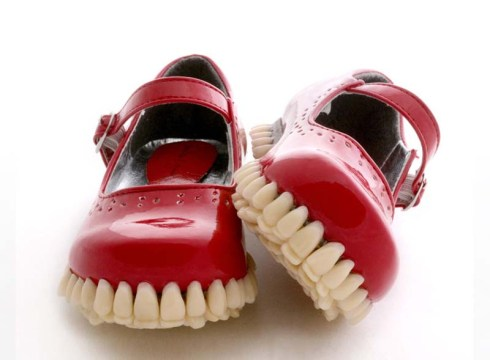 Apex Predator shoe sculptures with teeth/dentures as soles by Fantich and Young