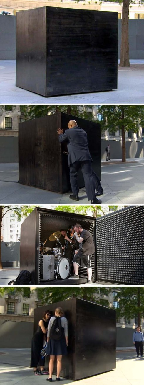 Box Sized Die, Joao Onofre, performance art, london, heavy metal in a box till air runs out