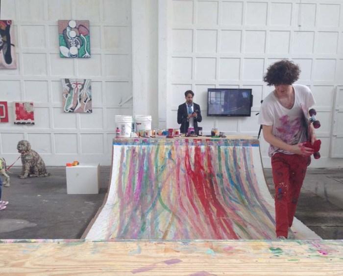 Skateboard Painting, matt reilly, japanther, Mana Contemporary, performance art, abstract painting, cool art