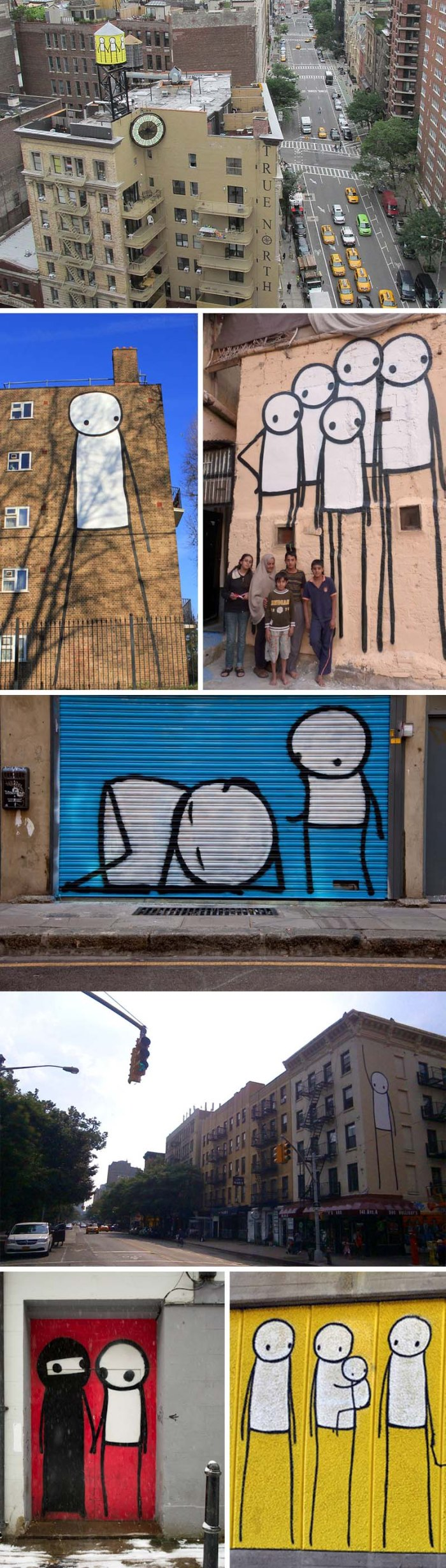 Stik, British street artist paint stick figure graffiti, cute, fun, water towers