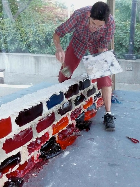 Jell-O Brick Wall, Jello Brick Wall by Lisa Hein and Robert Seng. Contemporary Sculpture. Seattle and Exit Art NYC. Cool art, fun art, goofy art. Food art