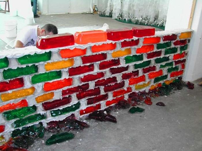 Jell-O Brick Wall, Jello Brick Wall by Lisa Hein and Robert Seng. Contemporary Sculpture. Seattle and Exit Art NYC. Cool art, fun art, goofy art. Food art