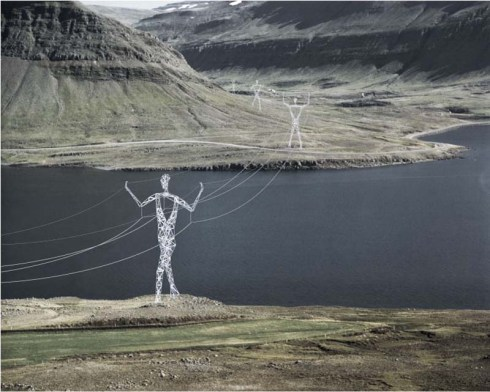 Land of the Giants, Choi+Shine Architects, Electrical Pylons in shape of giant men and women, Iceland, Competition