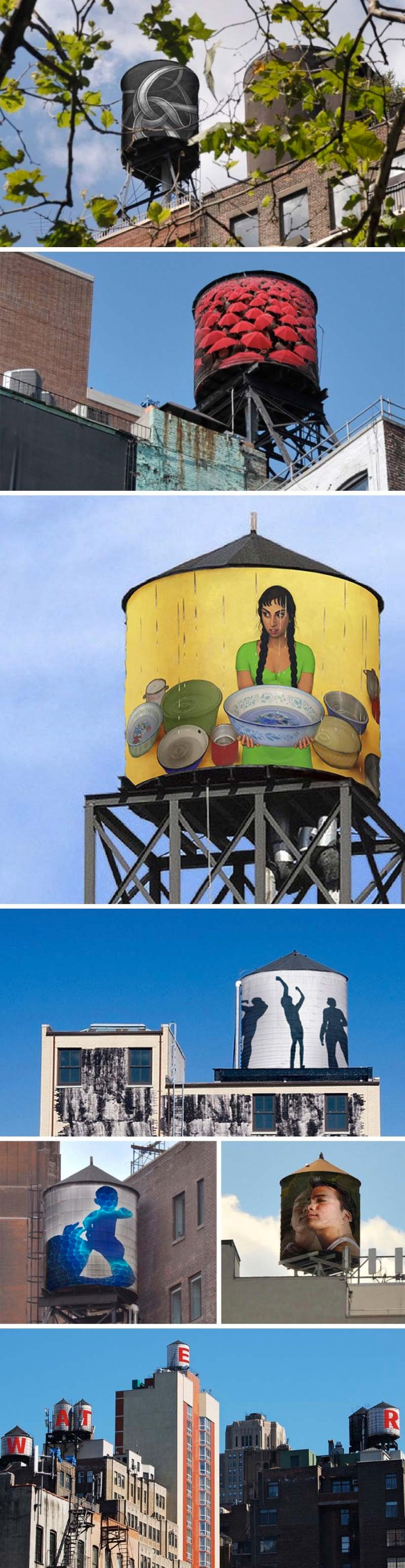 The Water Tank Project, Word Above the Street, Mary Jordan, 100 water tanks in nyc wrapped in artists's works to raise environmental awareness. NYC. Art and awareness