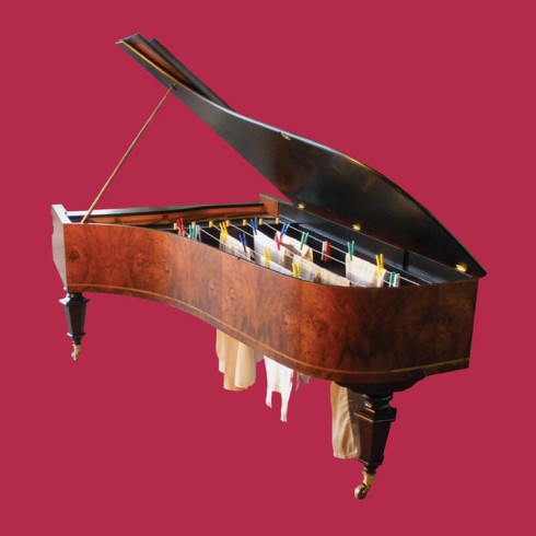 Marco Bottin, A middle class portrain, piano with hanging laundry, contemporary italian art, socio-economic art with humor/sting