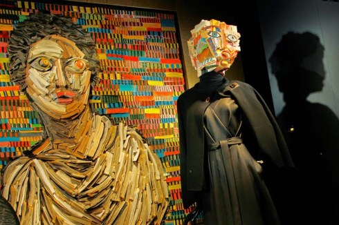 Nick Georgiou, Hermes, Window displays, sculptures made from books, cool art, fashion, NYC