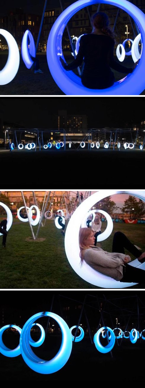 Swing Time installation by Höweler + Yoon Architecture in Boston, September 2014. Cool light swings that glow at night